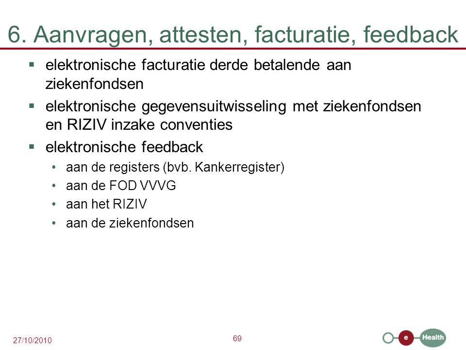 69 27/10/2010 6. Aanvragen, attesten, facturatie, feedback  elektronische facturatie derde betalende aan ziekenfondsen  elektronische gegevensuitwis