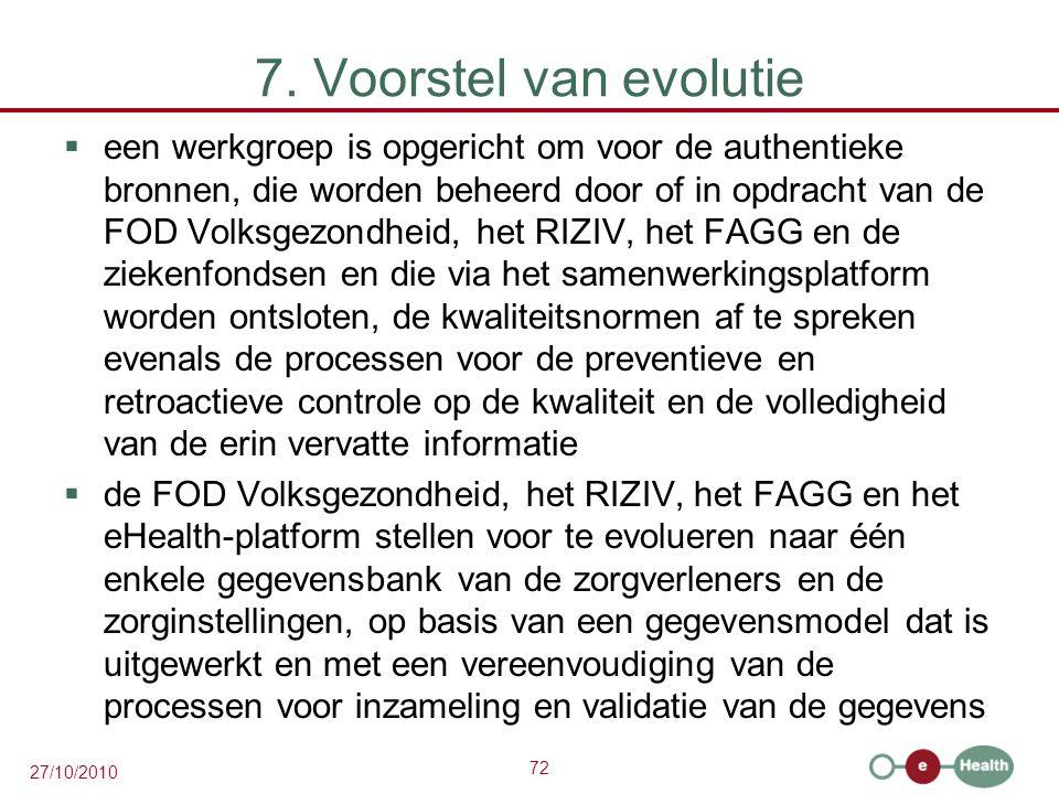 72 27/10/2010 7. Voorstel van evolutie  een werkgroep is opgericht om voor de authentieke bronnen, die worden beheerd door of in opdracht van de FOD