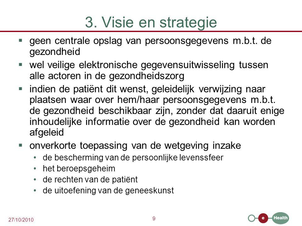 9 27/10/2010 3. Visie en strategie  geen centrale opslag van persoonsgegevens m.b.t. de gezondheid  wel veilige elektronische gegevensuitwisseling t