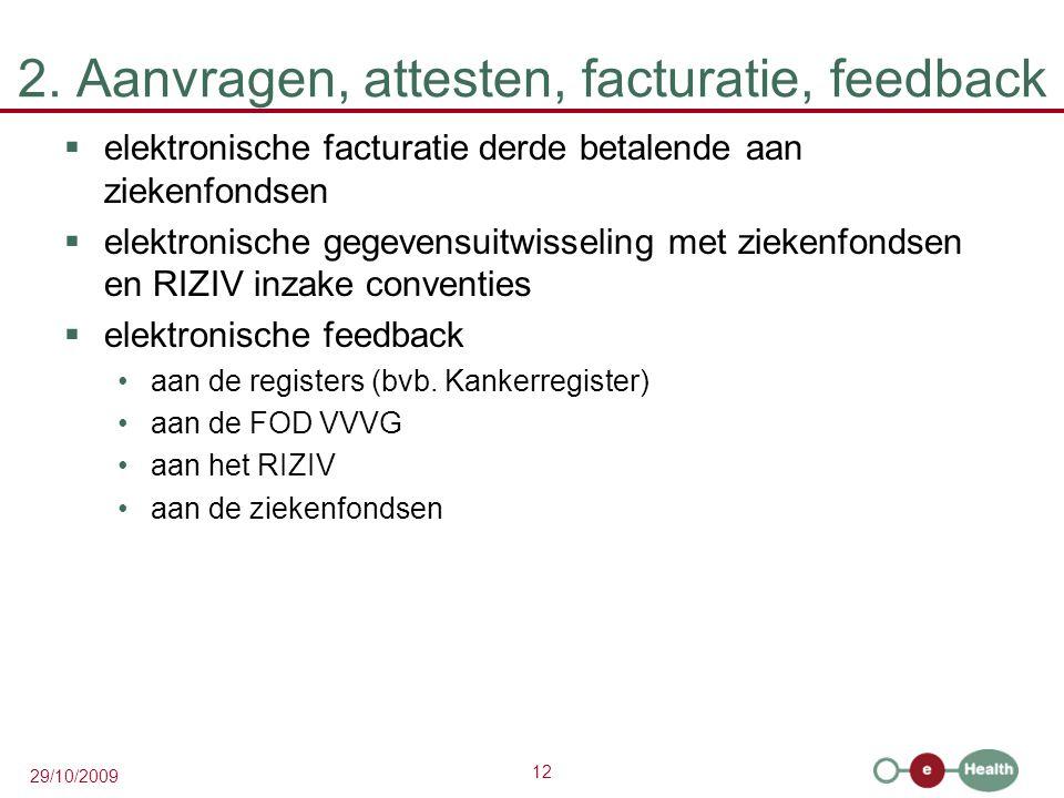 12 29/10/2009 2. Aanvragen, attesten, facturatie, feedback  elektronische facturatie derde betalende aan ziekenfondsen  elektronische gegevensuitwis