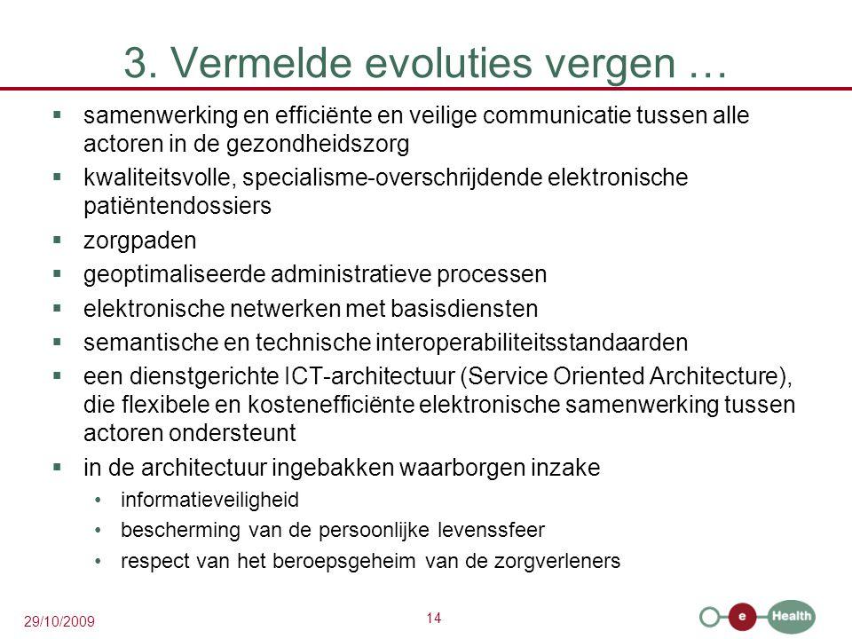 14 29/10/2009 3. Vermelde evoluties vergen …  samenwerking en efficiënte en veilige communicatie tussen alle actoren in de gezondheidszorg  kwalitei