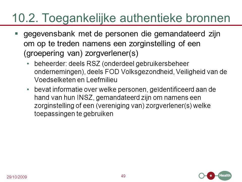 49 29/10/2009 10.2. Toegankelijke authentieke bronnen  gegevensbank met de personen die gemandateerd zijn om op te treden namens een zorginstelling o