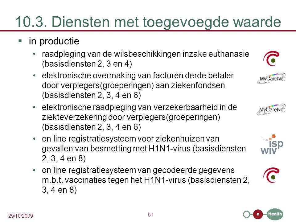 51 29/10/2009 10.3. Diensten met toegevoegde waarde  in productie raadpleging van de wilsbeschikkingen inzake euthanasie (basisdiensten 2, 3 en 4) el