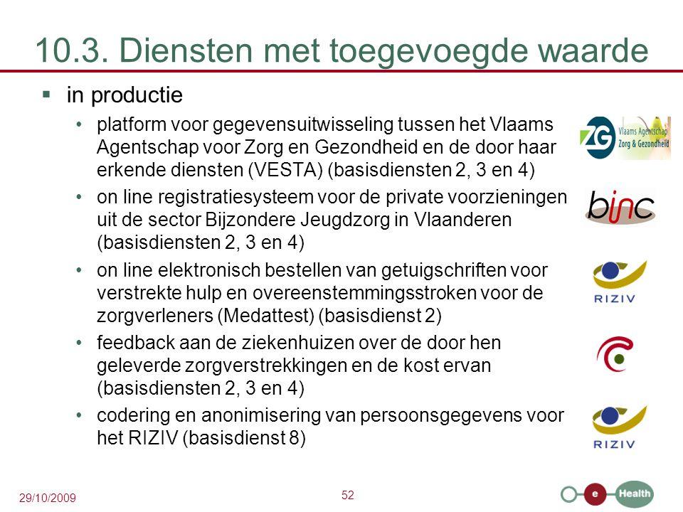 52 29/10/2009 10.3. Diensten met toegevoegde waarde  in productie platform voor gegevensuitwisseling tussen het Vlaams Agentschap voor Zorg en Gezond