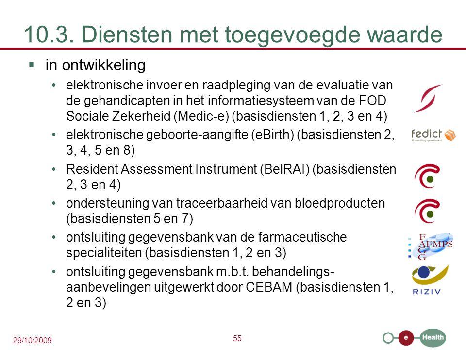 55 29/10/2009 10.3. Diensten met toegevoegde waarde  in ontwikkeling elektronische invoer en raadpleging van de evaluatie van de gehandicapten in het