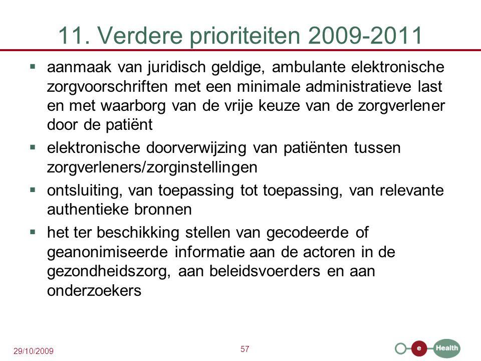 57 29/10/2009 11. Verdere prioriteiten 2009-2011  aanmaak van juridisch geldige, ambulante elektronische zorgvoorschriften met een minimale administr