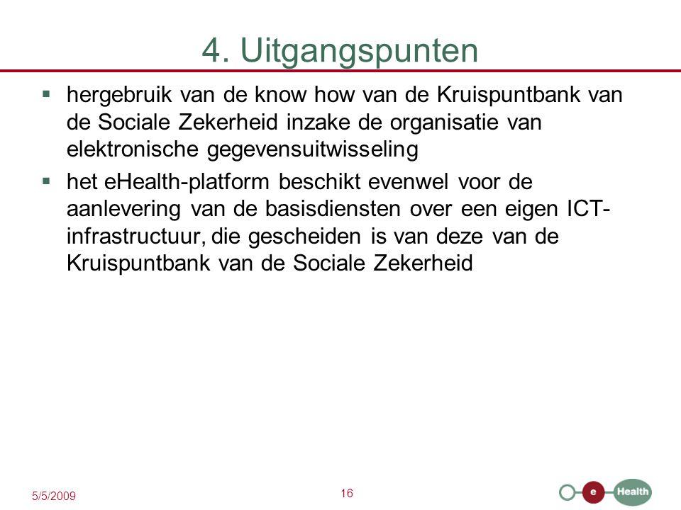 16 5/5/2009 4. Uitgangspunten  hergebruik van de know how van de Kruispuntbank van de Sociale Zekerheid inzake de organisatie van elektronische gegev