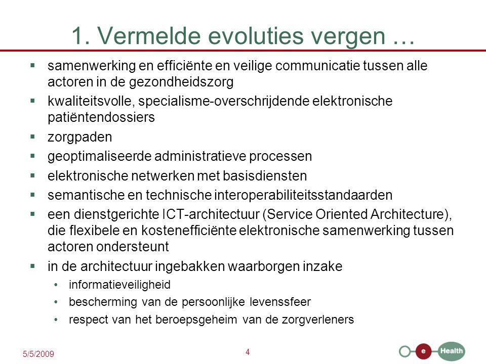 4 5/5/2009 1. Vermelde evoluties vergen …  samenwerking en efficiënte en veilige communicatie tussen alle actoren in de gezondheidszorg  kwaliteitsv