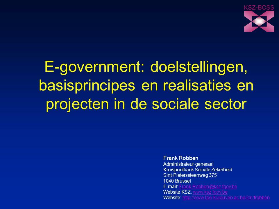KSZ-BCSS Kruispuntbank van de Sociale Zekerheid 72 23/10/2003 Voor meer informatie n portaal van de sociale zekerheid -https://www.socialsecurity.be/default.htmhttps://www.socialsecurity.be/default.htm n website Kruispuntbank van de Sociale Zekerheid -http://www.ksz.fgov.behttp://www.ksz.fgov.be n persoonlijke website Frank Robben -http://www.law.kuleuven.ac.be/icri/frobbenhttp://www.law.kuleuven.ac.be/icri/frobben