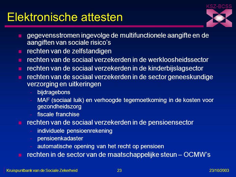 KSZ-BCSS Kruispuntbank van de Sociale Zekerheid 23 23/10/2003 Elektronische attesten n gegevensstromen ingevolge de multifunctionele aangifte en de aa
