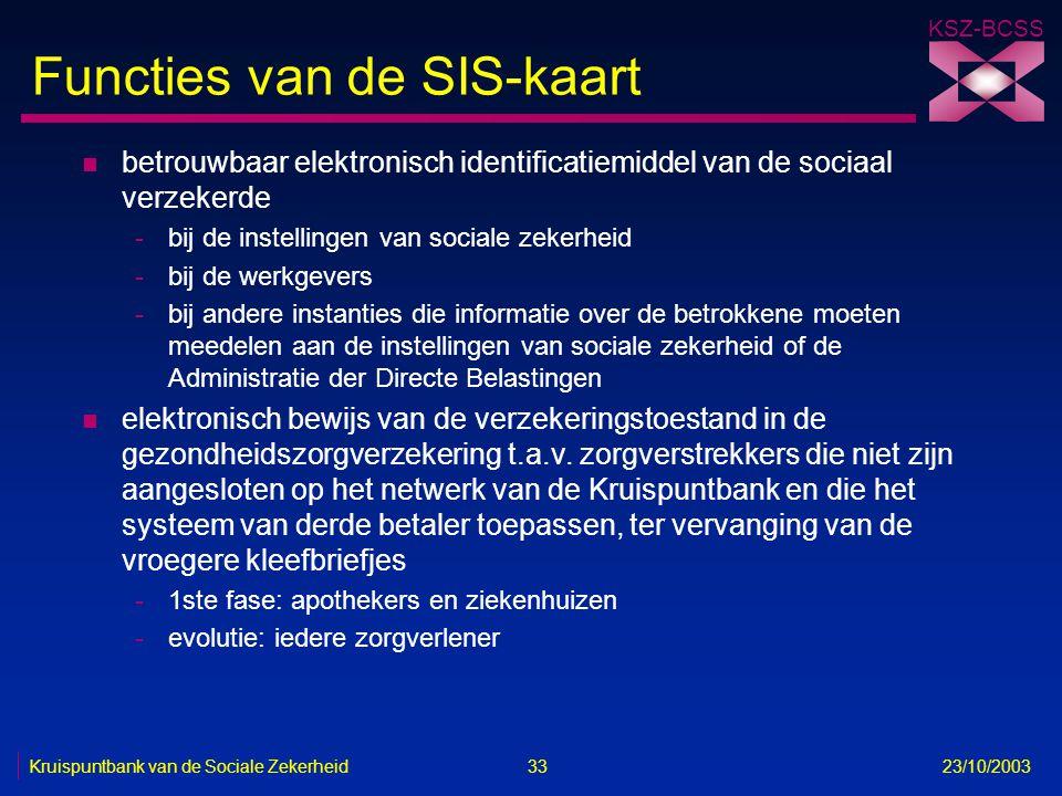KSZ-BCSS Kruispuntbank van de Sociale Zekerheid 33 23/10/2003 Functies van de SIS-kaart n betrouwbaar elektronisch identificatiemiddel van de sociaal