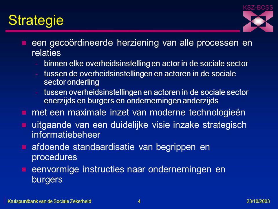 KSZ-BCSS Kruispuntbank van de Sociale Zekerheid 4 23/10/2003 Strategie n een gecoördineerde herziening van alle processen en relaties -binnen elke ove