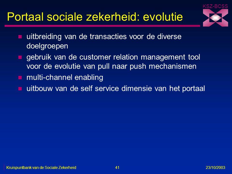 KSZ-BCSS Kruispuntbank van de Sociale Zekerheid 41 23/10/2003 Portaal sociale zekerheid: evolutie n uitbreiding van de transacties voor de diverse doe