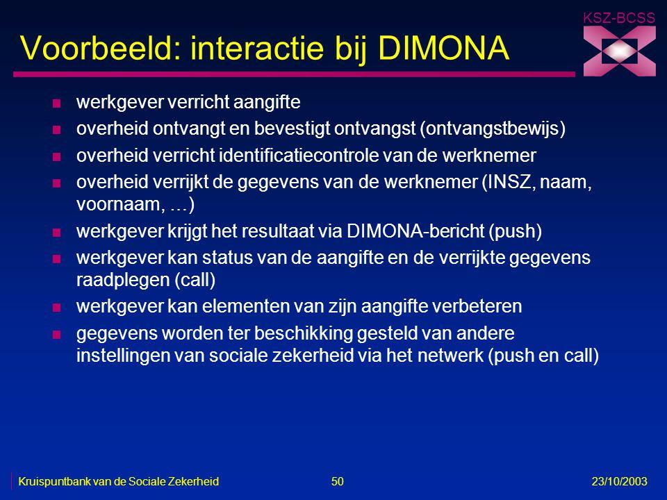 KSZ-BCSS Kruispuntbank van de Sociale Zekerheid 50 23/10/2003 Voorbeeld: interactie bij DIMONA n werkgever verricht aangifte n overheid ontvangt en be
