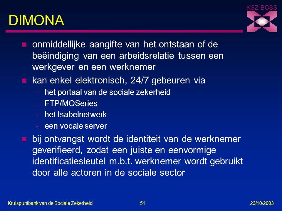 KSZ-BCSS Kruispuntbank van de Sociale Zekerheid 51 23/10/2003 DIMONA n onmiddellijke aangifte van het ontstaan of de beëindiging van een arbeidsrelati