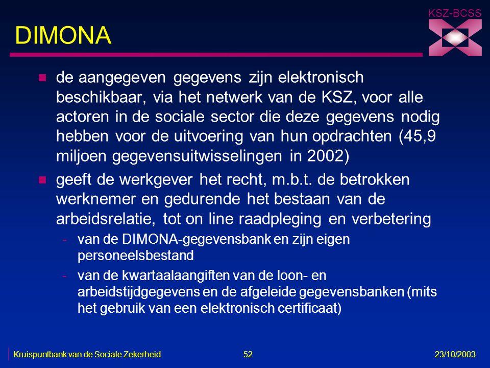 KSZ-BCSS Kruispuntbank van de Sociale Zekerheid 52 23/10/2003 DIMONA n de aangegeven gegevens zijn elektronisch beschikbaar, via het netwerk van de KS