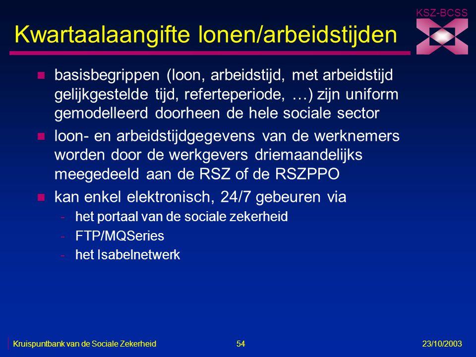 KSZ-BCSS Kruispuntbank van de Sociale Zekerheid 54 23/10/2003 Kwartaalaangifte lonen/arbeidstijden n basisbegrippen (loon, arbeidstijd, met arbeidstij