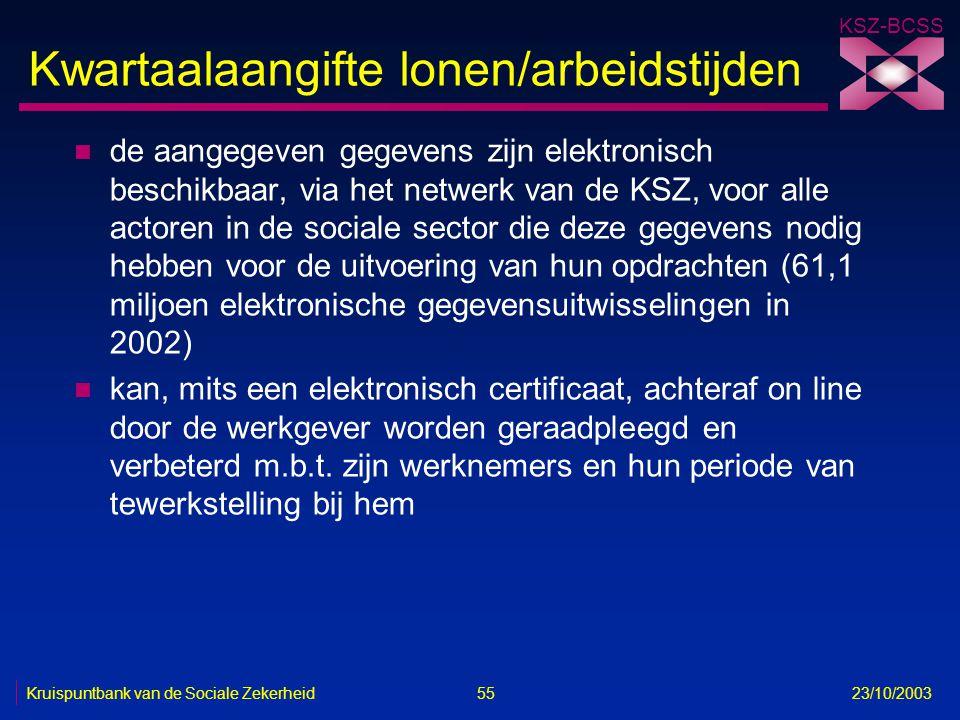 KSZ-BCSS Kruispuntbank van de Sociale Zekerheid 55 23/10/2003 Kwartaalaangifte lonen/arbeidstijden n de aangegeven gegevens zijn elektronisch beschikb