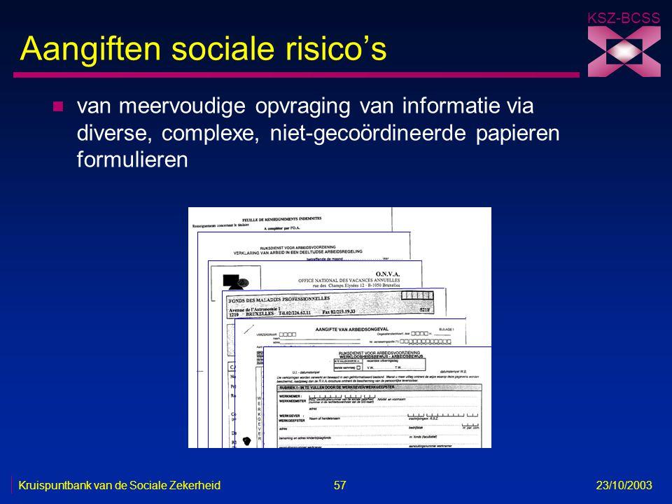 KSZ-BCSS Kruispuntbank van de Sociale Zekerheid 57 23/10/2003 Aangiften sociale risico's n van meervoudige opvraging van informatie via diverse, compl