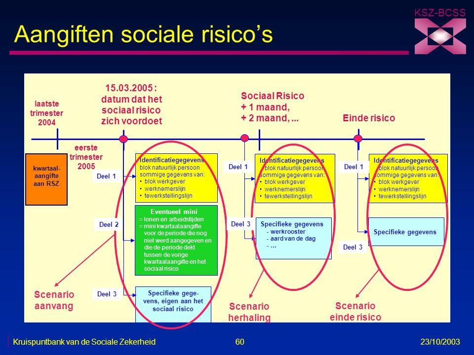 KSZ-BCSS Kruispuntbank van de Sociale Zekerheid 60 23/10/2003 Aangiften sociale risico's Identificatiegegevens blok natuurlijk persoon sommige gegeven