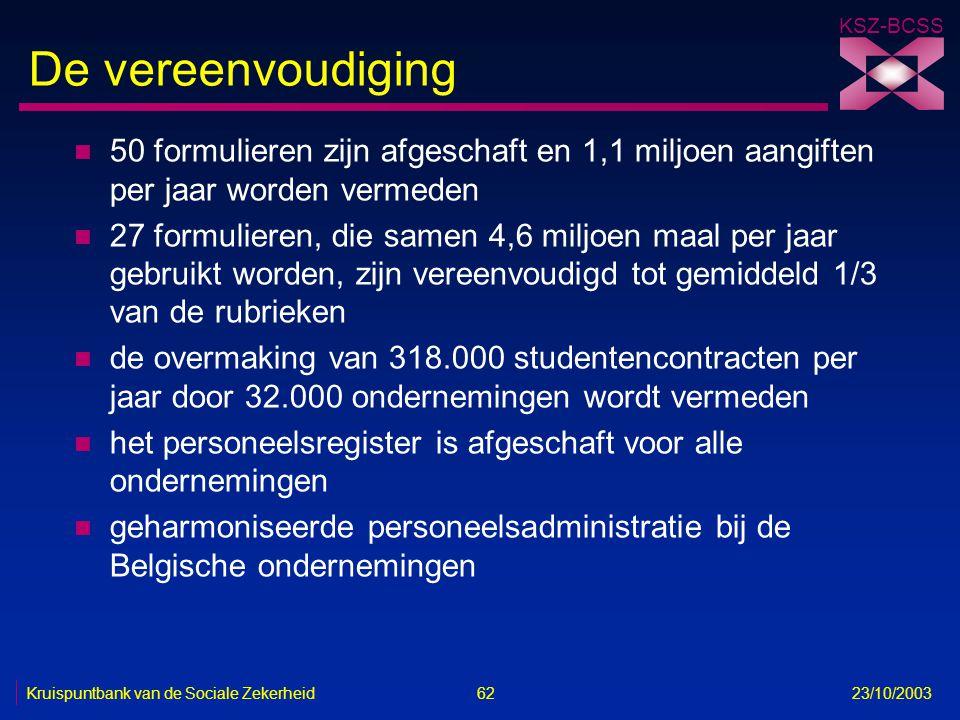 KSZ-BCSS Kruispuntbank van de Sociale Zekerheid 62 23/10/2003 De vereenvoudiging n 50 formulieren zijn afgeschaft en 1,1 miljoen aangiften per jaar wo