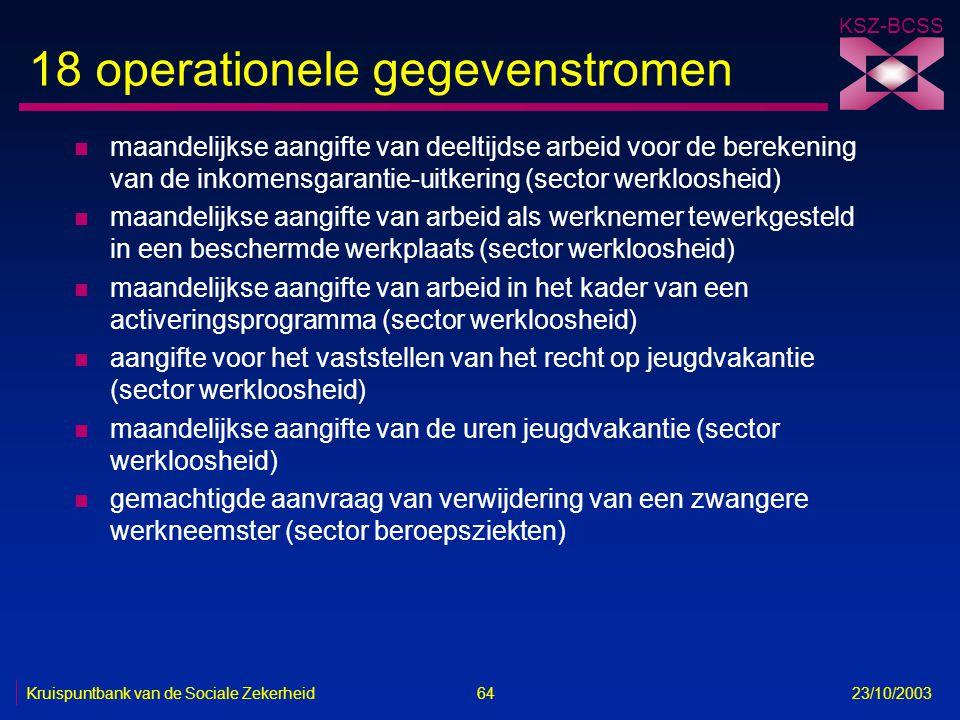 KSZ-BCSS Kruispuntbank van de Sociale Zekerheid 64 23/10/2003 18 operationele gegevenstromen n maandelijkse aangifte van deeltijdse arbeid voor de ber