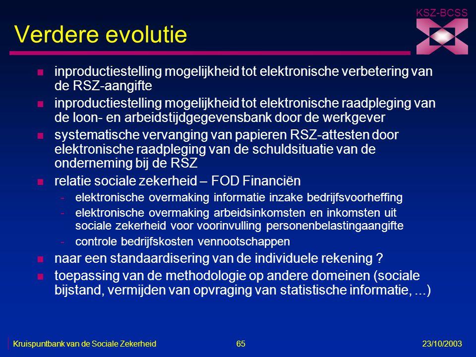 KSZ-BCSS Kruispuntbank van de Sociale Zekerheid 65 23/10/2003 Verdere evolutie n inproductiestelling mogelijkheid tot elektronische verbetering van de