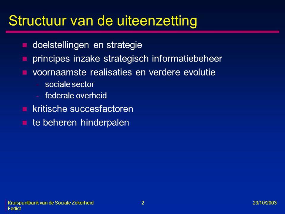 Kruispuntbank van de Sociale Zekerheid 2 23/10/2003 Fedict Structuur van de uiteenzetting n doelstellingen en strategie n principes inzake strategisch