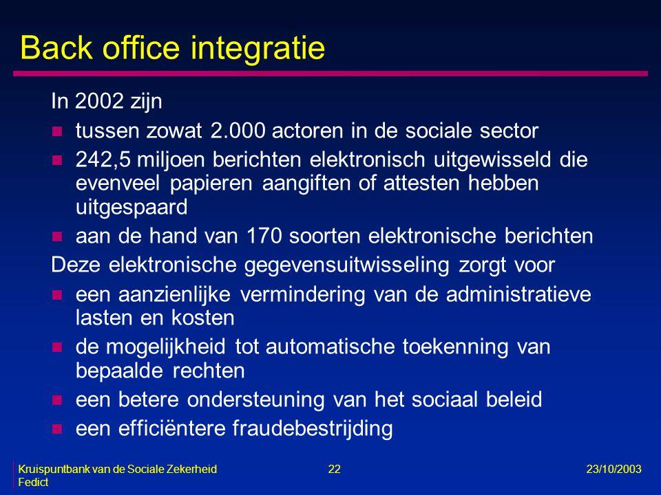 Kruispuntbank van de Sociale Zekerheid 22 23/10/2003 Fedict Back office integratie In 2002 zijn n tussen zowat 2.000 actoren in de sociale sector n 24