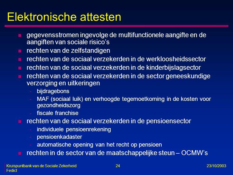Kruispuntbank van de Sociale Zekerheid 24 23/10/2003 Fedict Elektronische attesten n gegevensstromen ingevolge de multifunctionele aangifte en de aang