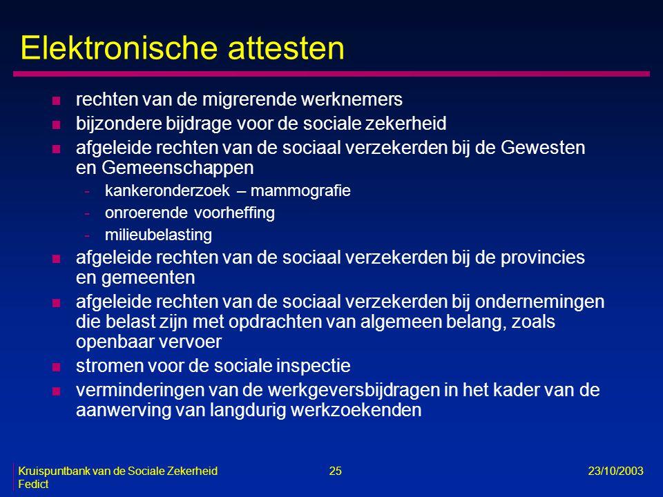 Kruispuntbank van de Sociale Zekerheid 25 23/10/2003 Fedict Elektronische attesten n rechten van de migrerende werknemers n bijzondere bijdrage voor d