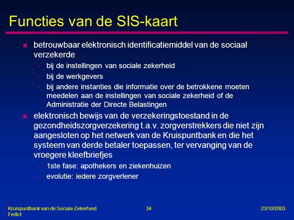 Kruispuntbank van de Sociale Zekerheid 34 23/10/2003 Fedict Functies van de SIS-kaart n betrouwbaar elektronisch identificatiemiddel van de sociaal ve