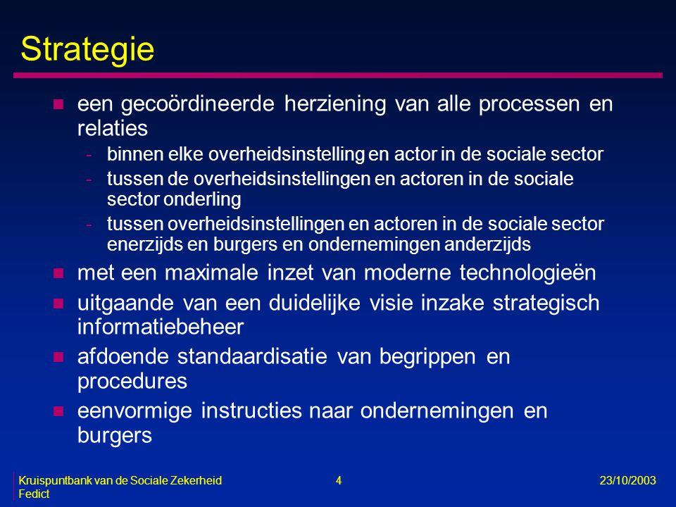 Kruispuntbank van de Sociale Zekerheid 4 23/10/2003 Fedict Strategie n een gecoördineerde herziening van alle processen en relaties -binnen elke overh