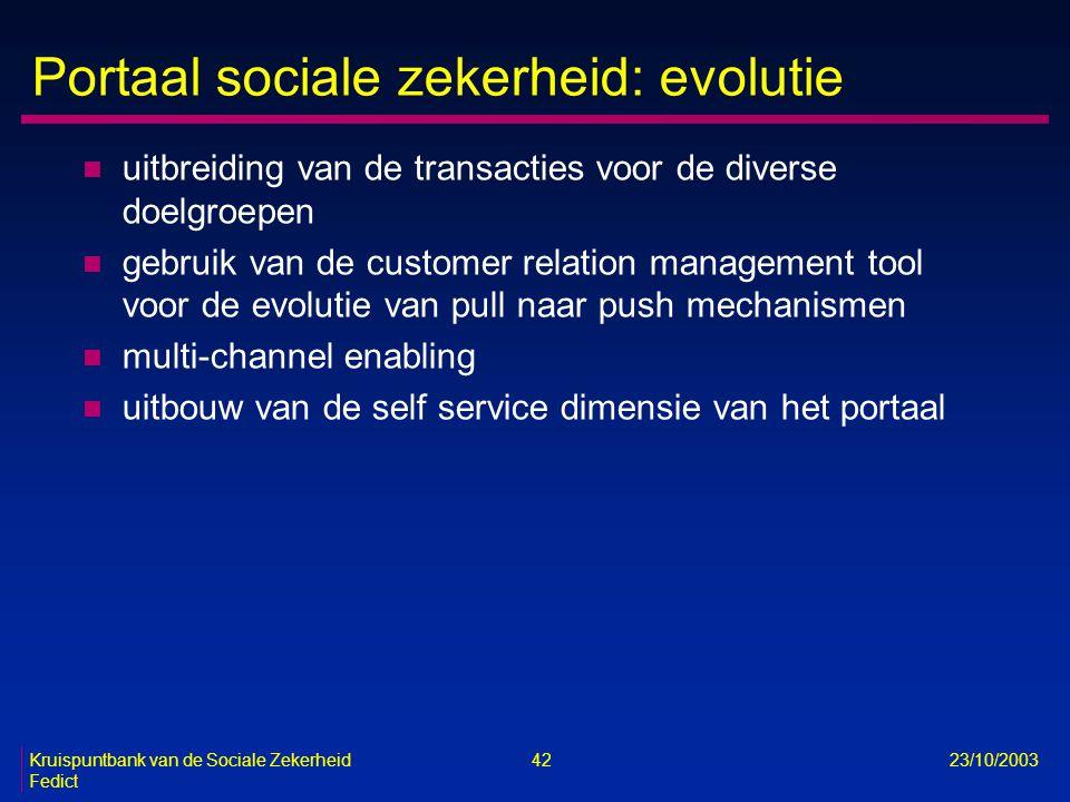 Kruispuntbank van de Sociale Zekerheid 42 23/10/2003 Fedict Portaal sociale zekerheid: evolutie n uitbreiding van de transacties voor de diverse doelg