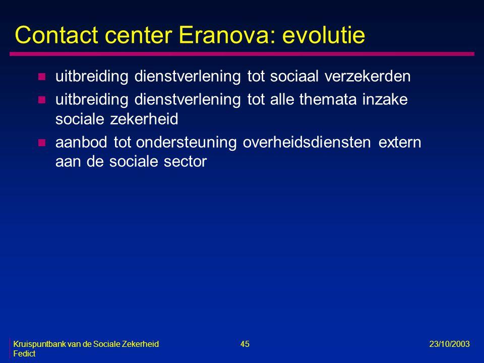 Kruispuntbank van de Sociale Zekerheid 45 23/10/2003 Fedict Contact center Eranova: evolutie n uitbreiding dienstverlening tot sociaal verzekerden n u