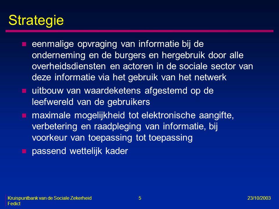 Kruispuntbank van de Sociale Zekerheid 5 23/10/2003 Fedict Strategie n eenmalige opvraging van informatie bij de onderneming en de burgers en hergebru