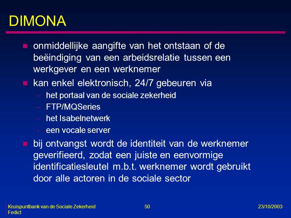 Kruispuntbank van de Sociale Zekerheid 50 23/10/2003 Fedict DIMONA n onmiddellijke aangifte van het ontstaan of de beëindiging van een arbeidsrelatie