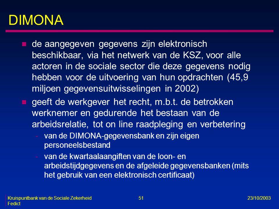 Kruispuntbank van de Sociale Zekerheid 51 23/10/2003 Fedict DIMONA n de aangegeven gegevens zijn elektronisch beschikbaar, via het netwerk van de KSZ,