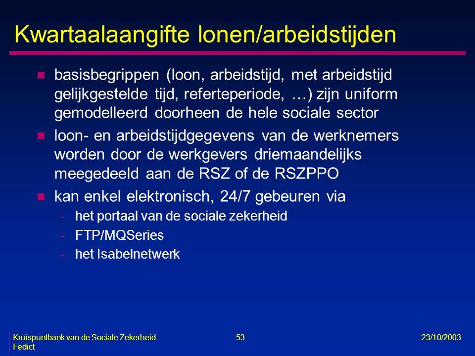 Kruispuntbank van de Sociale Zekerheid 53 23/10/2003 Fedict Kwartaalaangifte lonen/arbeidstijden n basisbegrippen (loon, arbeidstijd, met arbeidstijd