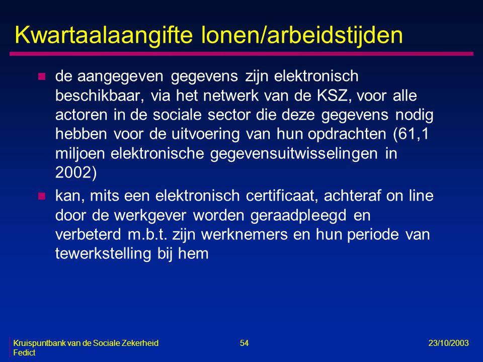 Kruispuntbank van de Sociale Zekerheid 54 23/10/2003 Fedict Kwartaalaangifte lonen/arbeidstijden n de aangegeven gegevens zijn elektronisch beschikbaa