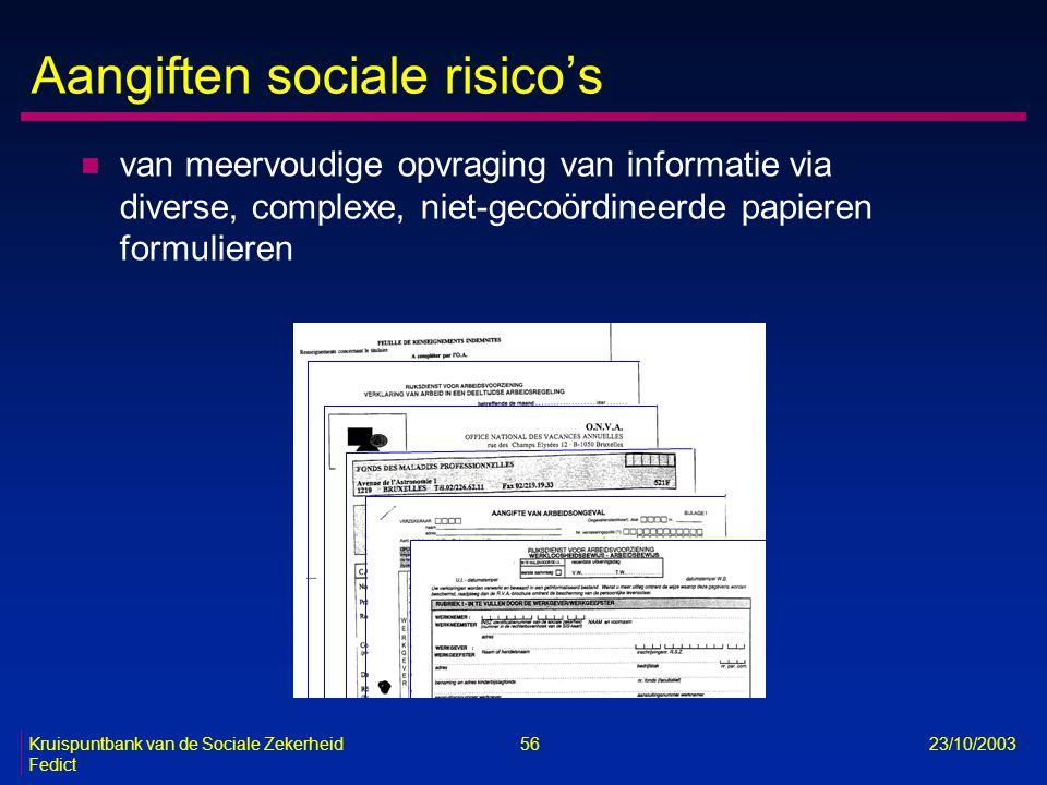 Kruispuntbank van de Sociale Zekerheid 56 23/10/2003 Fedict Aangiften sociale risico's n van meervoudige opvraging van informatie via diverse, complex
