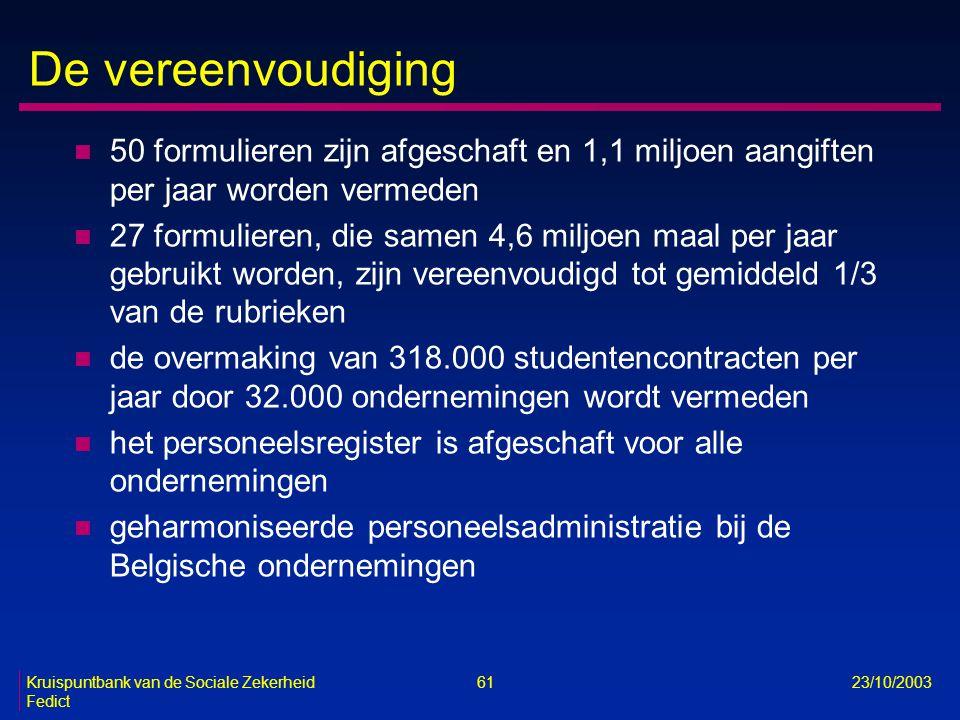 Kruispuntbank van de Sociale Zekerheid 61 23/10/2003 Fedict De vereenvoudiging n 50 formulieren zijn afgeschaft en 1,1 miljoen aangiften per jaar word