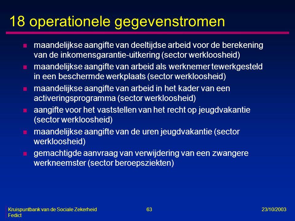 Kruispuntbank van de Sociale Zekerheid 63 23/10/2003 Fedict 18 operationele gegevenstromen n maandelijkse aangifte van deeltijdse arbeid voor de berek