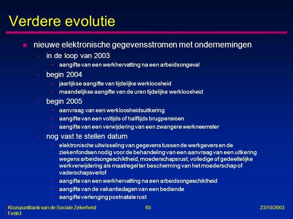 Kruispuntbank van de Sociale Zekerheid 65 23/10/2003 Fedict Verdere evolutie n nieuwe elektronische gegevensstromen met ondernemingen -in de loop van