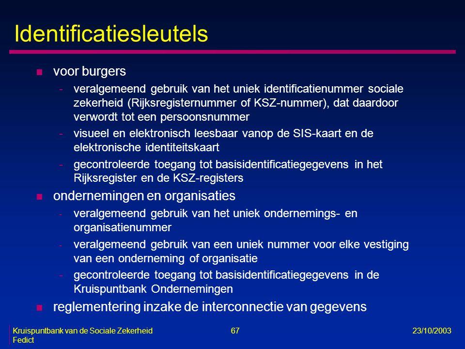 Kruispuntbank van de Sociale Zekerheid 67 23/10/2003 Fedict Identificatiesleutels n voor burgers -veralgemeend gebruik van het uniek identificatienumm