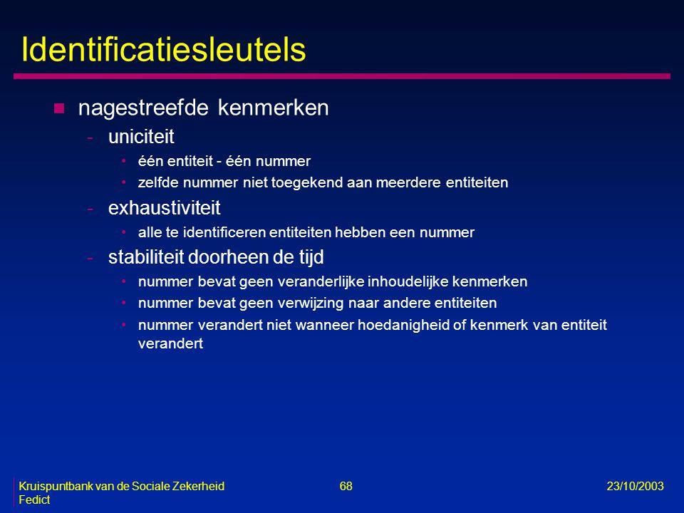 Kruispuntbank van de Sociale Zekerheid 68 23/10/2003 Fedict Identificatiesleutels n nagestreefde kenmerken -uniciteit één entiteit - één nummer zelfde