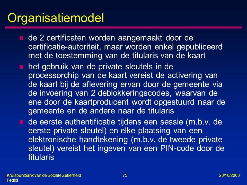 Kruispuntbank van de Sociale Zekerheid 75 23/10/2003 Fedict Organisatiemodel n de 2 certificaten worden aangemaakt door de certificatie-autoriteit, ma