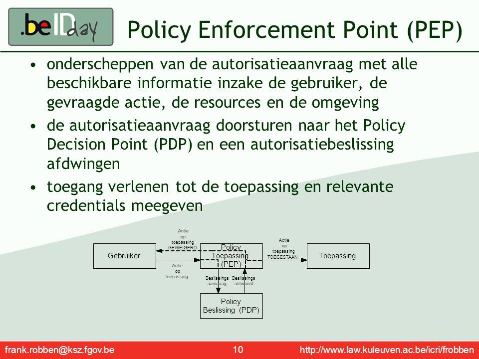 frank.robben@ksz.fgov.be 10 http://www.law.kuleuven.ac.be/icri/frobben Policy Enforcement Point (PEP) onderscheppen van de autorisatieaanvraag met all