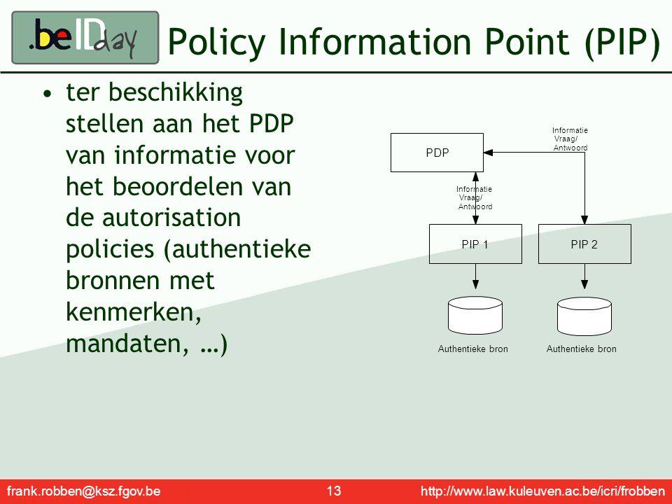 frank.robben@ksz.fgov.be 13 http://www.law.kuleuven.ac.be/icri/frobben Policy Information Point (PIP) ter beschikking stellen aan het PDP van informat
