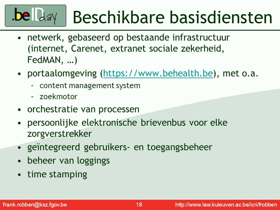 frank.robben@ksz.fgov.be 18 http://www.law.kuleuven.ac.be/icri/frobben Beschikbare basisdiensten netwerk, gebaseerd op bestaande infrastructuur (inter